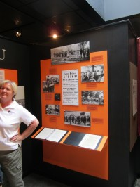 Linda Hinton, STFU Museum official, showing the union's history