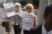 Protest where people dressed in their Jane Jacobs eyeglasses