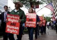 United Steelworkers Demonstrate Against Mexico's President Visit