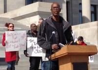 Toney Orr, Local 100, speaking in support of private option at the Arkansas Capital.