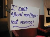 I cant afford another rent increase poster