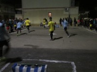 the 3 person street soccer games organized after we finished