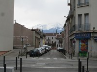 view of the alps from the office in Grenoble