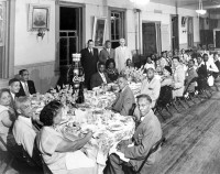 A black and white photo taken in 1940 of a Coca Cola employees dinner at the Marti Maceo Club, Ybor City's Afro-Cuban Mutual Aid Society.