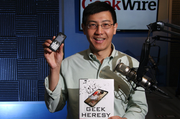 Kentaro Toyama, author of Geek Heresy, with his 10-year-old Nokia phone. (Erynn Rose photo)
