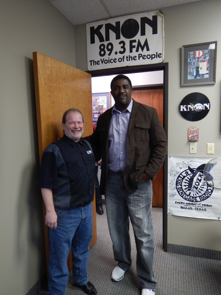 station manager, Dave Chaos (on the left) with a former Super Bowl Dallas Cowboy player who came by the studio