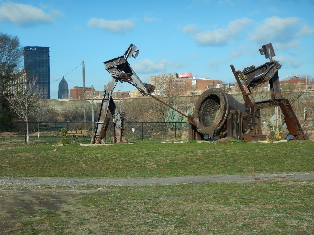 Monument to Steel Mills made of scraps by the trade unions along the Pittsburgh South Side