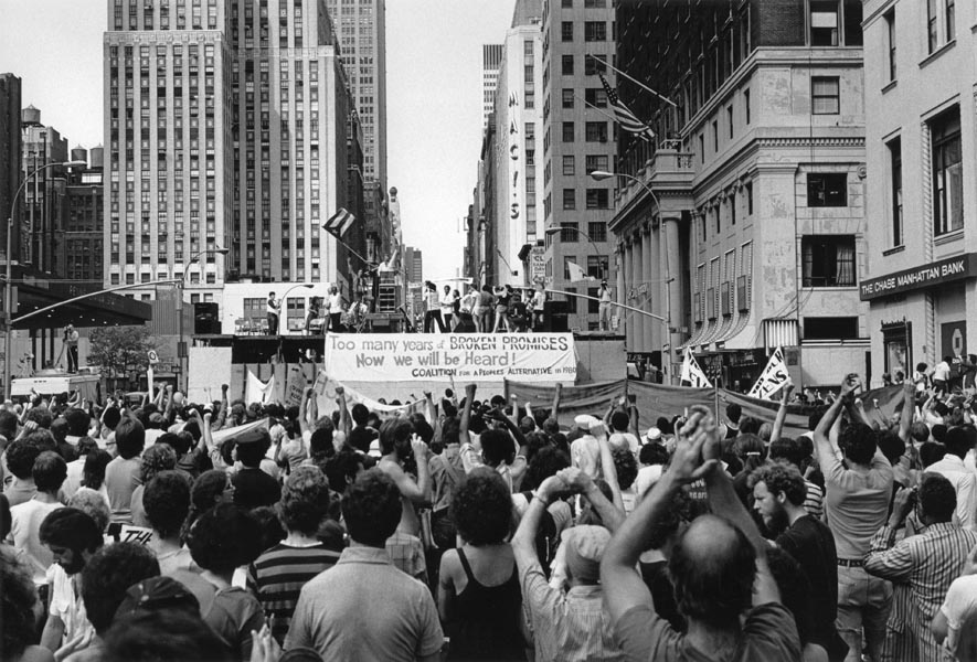 Street protests surrounding Madison Square Garden, site of the 1980 Democratic National Convention.
