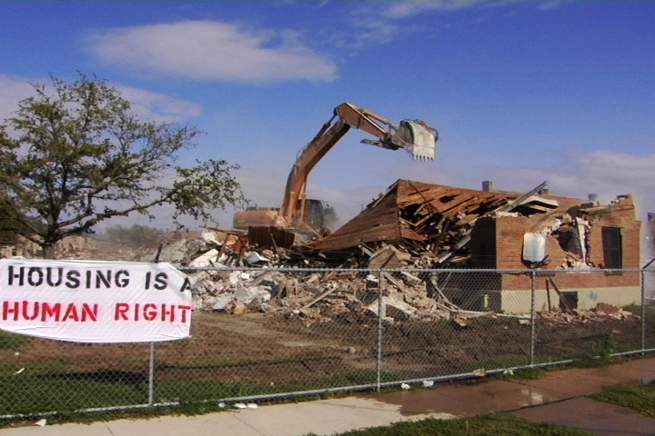 Demolition of housing project in New Orleans