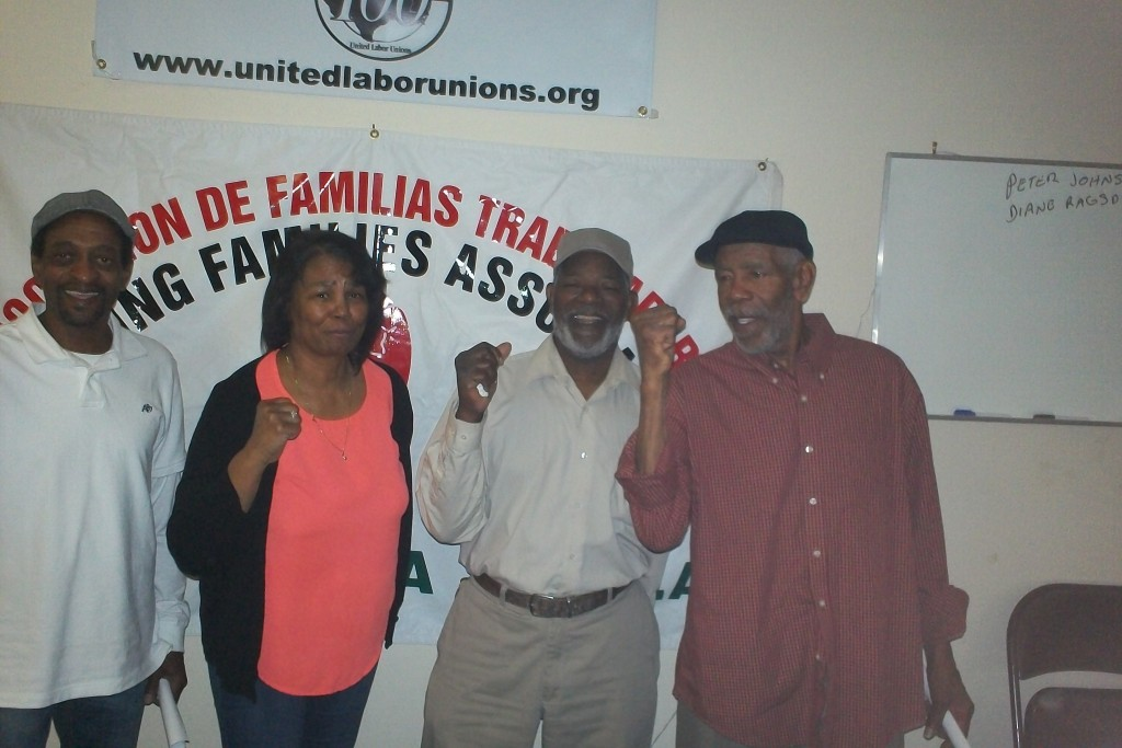Pictured, left to right, Retired Workers Thomas Taylor, Doris Taylor, Kenneth Morgan and William Morgan. Photo Credit Kenneth Stretcher