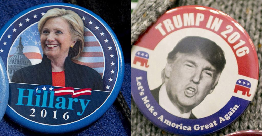 AP Photo/Mary Altaffer/Andrew Spear/The New York Times Hillary Clinton button and Donald Trump. (AP Photo/Mary Altaffer) ORG XMIT: MIN2016040813524411