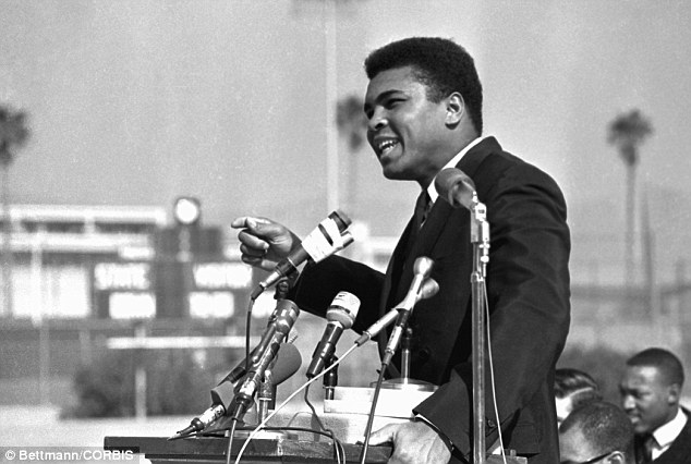 During his Ban from boxing after refusing to be drafted, Ali speaks our against the Vietnam War to a crowd of 1,500 students in Los Angeles in February, 1968.
