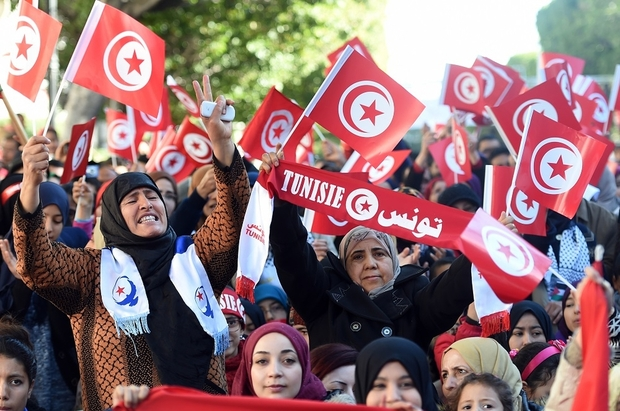 Tunisian women at a rally in Tunis marking the 5th anniversary of the 2011 revolution AFP PHOTO / FETHI BELAID