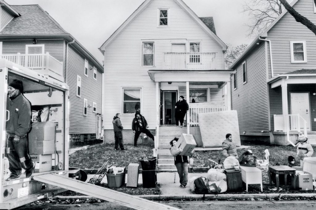 An eviction in Milwaukee in December. Often, landlords turn to informal methods to get families to leave.Photograph by Philip Montgomery for The New Yorker
