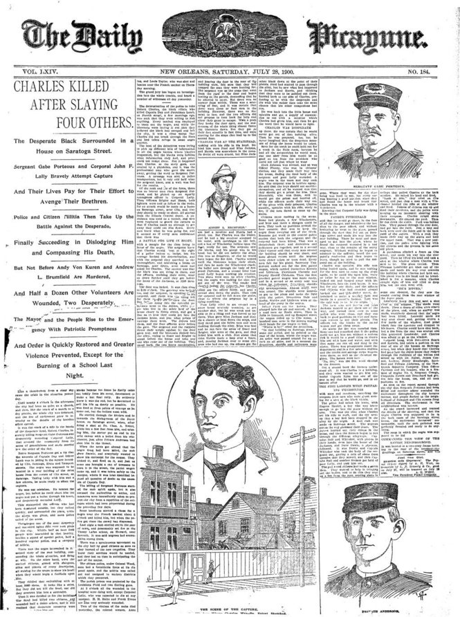 Front page of the New Orleans Daily Picayune, July 28, 1900, after Charles was killed
