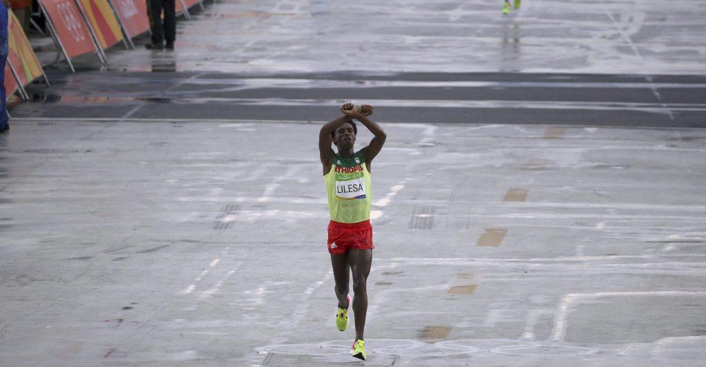 Feyisa Lilesa protesting at the Rio Olympics