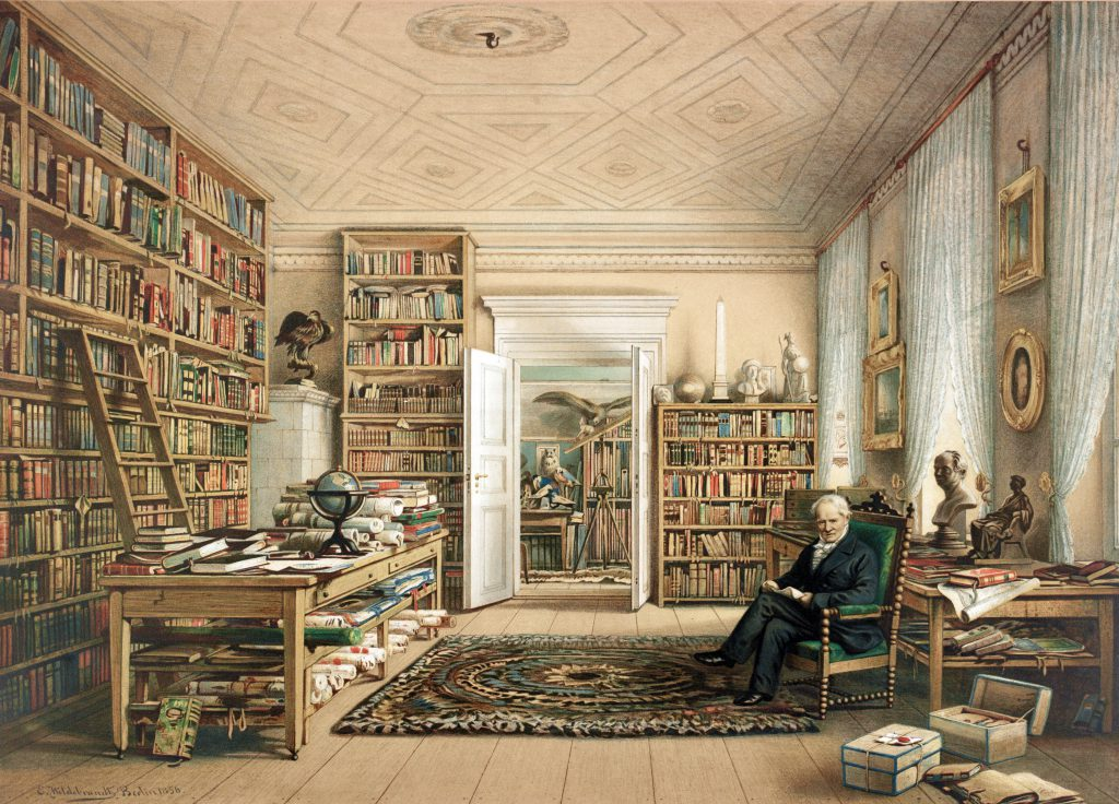"""Alexander von Humboldt in seiner Bibliothek."" Chromolithograph copy of watercolor drawing by Eduard Hildebrant, 1856 (Berlin: Storch & Kramer) [Graphic Arts Collection]. Rooms in Humboldt's apartment at 67 Oranienburger Strasse in Berlin, where he lived from 1827 to the end of his life."