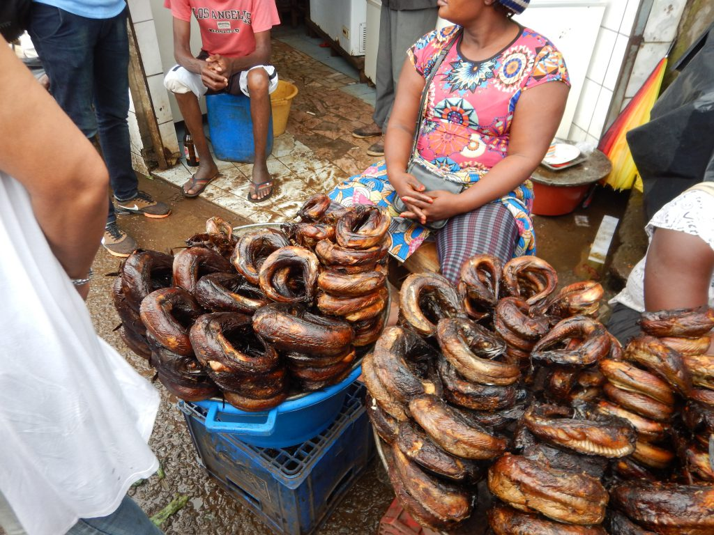 Eels for sale in the market