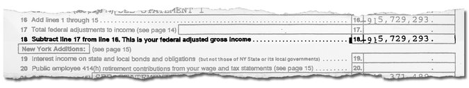 A line from one of Mr. Trump's 1995 tax returns obtained by The New York Times.